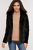 Women's Caryn Reversible Sheared Mink Fur Jacket with Fox Fur Trim