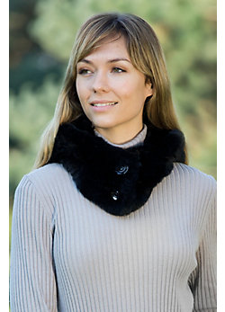 Women's Knitted Rabbit Fur Hood and Neck Warmer