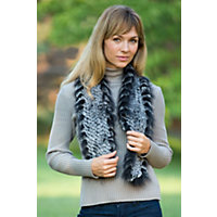 Women's Knitted Rabbit Fur Scarf with Raccoon Fur Trim, BLACK SNOW, Size 1 Size