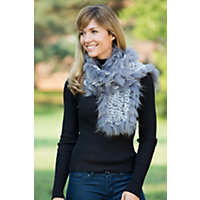 Women's Knitted Rabbit Fur Scarf with Raccoon Fur Trim, GREY SNOW, Size 1 Size
