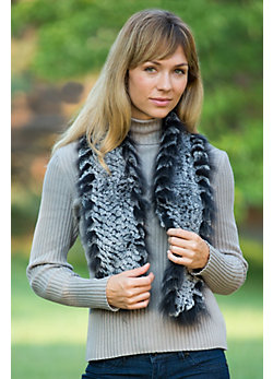 Women's Knitted Rabbit Fur Scarf with Raccoon Fur Trim
