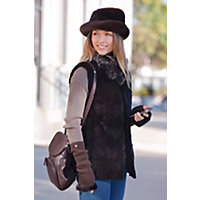 Women's Stephanie Reversible Mink Fur Vest, Brown, Size Small (6-8) Western & Country