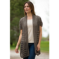 Women's Modern Cotton Cardigan Sweater, 159 EARTH, Size L/XL (14-16)