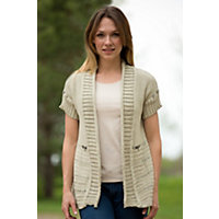 Women's Reclaimed Cotton Cardigan Sweater, 268 DUST, Size M/L (10-12)