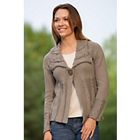 Women's Global Cable Handmade Cotton Cardigan Sweater, 105 Puddy, Size L / Xl (14-16) Western & Country