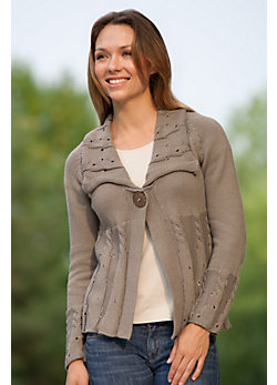 Women's Global Cable Handmade Cotton Cardigan Sweater