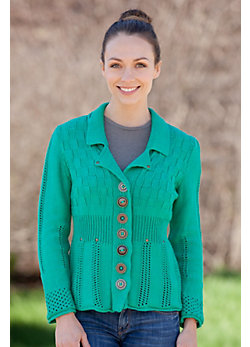 Women's Sun Burst Handmade Cotton Cardigan