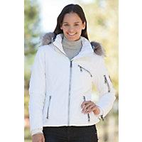 Women's Skea Gili Parka With Silver Fox Fur Trim, White, Size 6 Western & Country