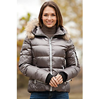 Women's Skea Chloe Down Parka With Detachable Raccoon Fur Collar, Tahitian, Size 8 Western & Country