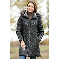 Women's Skea Anna Parka With Detachable Fox Fur Hood, Black, Size 6 Western & Country