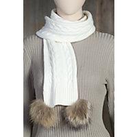 Women's Skea Merino Wool Knit Scarf With Raccoon Fur Poms, White Western & Country