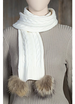 Women's Skea Merino Wool Knit Scarf with Raccoon Fur Poms