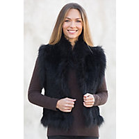 Women's Laurel Knitted Rex Rabbit Fur Vest With Fox Fur Trim, Black, Size Small (6) Western & Country