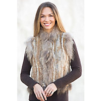 Women's Laurel Knitted Rex Rabbit Fur Vest With Fox Fur Trim, Natural, Size Medium (8) Western & Country