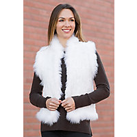 Women's Laurel Knitted Rex Rabbit Fur Vest With Fox Fur Trim, White, Size Large (10) Western & Country