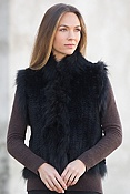 Women's Laurel Knitted Rex Rabbit Fur Vest with Fox Fur Trim