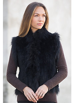 Women's Laurel Knitted Rabbit Fur Vest with Fox Fur Trim
