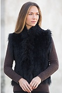 Women's Laurel Knitted Rex Rabbit Fur Vest with Fur Trim