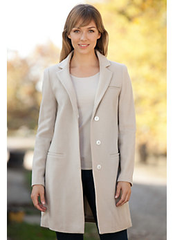 Women's Carmine Cashmere Coat with Fox Fur Trim