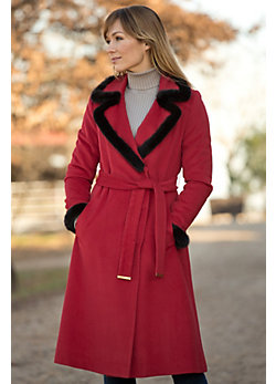 Women's Daveen Cashmere Coat with Mink Fur Trim