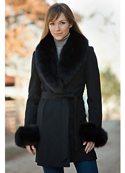 Women's Leora Cashmere Coat with Fox Fur Trim