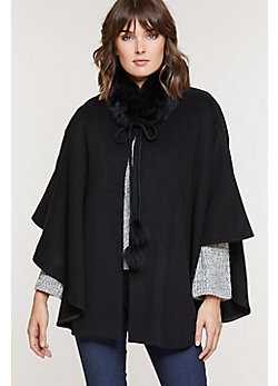 Women's Monterey Cashmere Cape with Fox Fur Trim