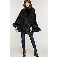 Victorian Wraps, Capes, Shawl, Capelets Jodie Cashmere Cape with Fox Fur Trim BLACK Size 1 Size $779.00 AT vintagedancer.com