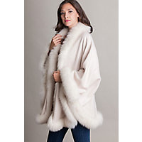 Victorian Wraps, Capes, Shawl, Capelets Jodie Cashmere Cape with Fox Fur Trim CREAM Size 1 Size $779.00 AT vintagedancer.com