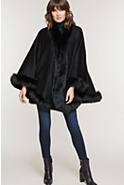 Women's Jodie Cashmere Cape with Fox Fur Trim