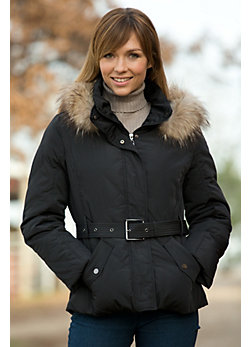 Women's Raymee Quilted Jacket with Raccoon Fur Trim