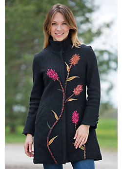 Women's Indian Paintbrush Boiled Wool Coat