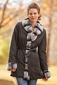 Women's Kendra Belted Nylon Jacket with Rabbit Fur Trim