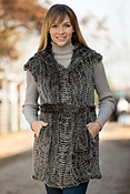 Women's Angie Knitted Rabbit Fur Vest with Hood