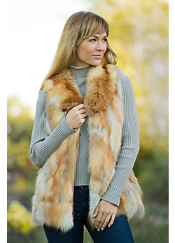 Women's Laura-Lee Red Fox Fur Vest