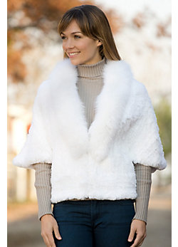 Women's Josie Knitted Rabbit Fur Jacket with Fox Fur Trim