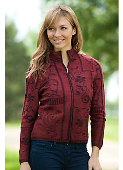 Women's Amithi Zip-Front Alpaca Wool Cardigan Sweater