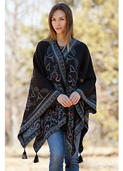 Women's Reversible Embroidered Alpaca Wool Shawl