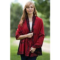 Faylinn Reversible Alpaca Wool Shawl RED Size 1 Size $185.00 AT vintagedancer.com