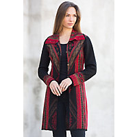 Cornelia Alpaca Wool Sweater, BLACK/RED, Size Medium  (6-8)