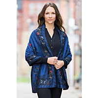 Heather Reversible Alpaca Wool Shawl BLUE Size 1 Size $189.00 AT vintagedancer.com