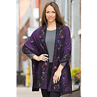 Heather Reversible Alpaca Wool Shawl PLUM Size 1 Size $189.00 AT vintagedancer.com