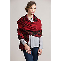 Heather Reversible Alpaca Wool Shawl RED Size 1 Size $189.00 AT vintagedancer.com