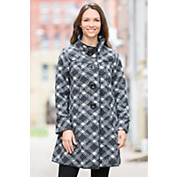 Janska Becka Fleece Coat PLAID Size MEDIUM 10 12