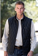 Men's Bernard Quilted Vest with Leather Trim