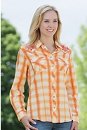 Women's Rope Stitch Plaid Cotton Shirt