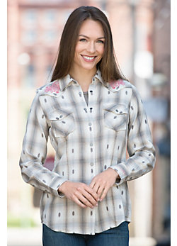 Ryan Michael Embroidered Yoke Plaid Cotton Shirt