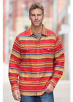 Ryan Michael Serape Stripe Linen-Blend Shirt