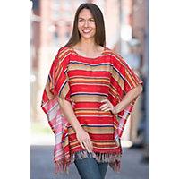 Ryan Michael Serape Summer Linen Blend Poncho LIPSTICK Size L XL 10 14