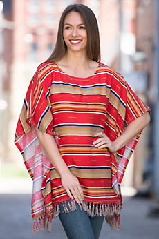 Ryan Michael Serape Summer Linen-Blend Poncho