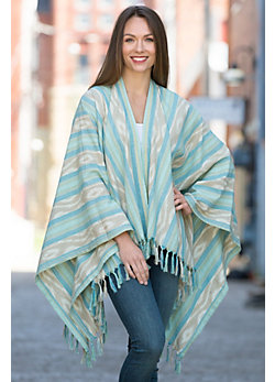 Ryan Michael Fringed Ikat Cotton Shawl